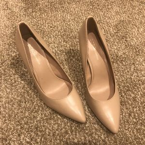 "BCBGeneration Nude Leather Heel, Size 9, 4"" heel"